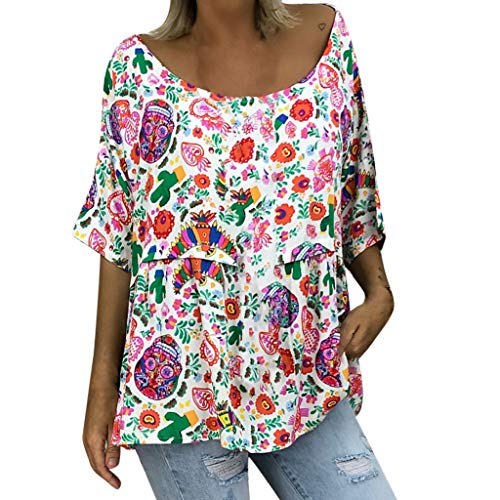 Lowest Price! Vintage Floral Printed Tunic Tops Womens Casual Loose Short Sleeve Crew Neck Shirts Pl...