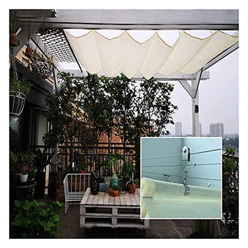 XISENOCI Cortina de Vela Romana retráctil, persiana Enrollable con protección Solar, toldo con Dosel de Alambre Deslizante, para balcón Exterior, poliéster para Techo de jardín, tamaño Personalizado