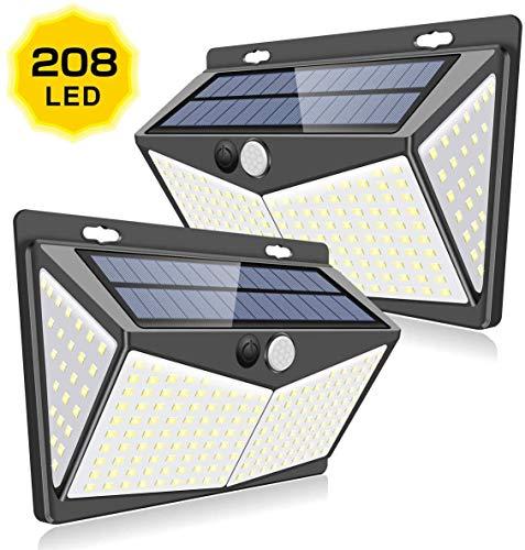 Foco Solar, GLURIZ【Nueva Versión 208LED 2 Pack】Luces Solares, 3 Modos lámparas solares de pared Impermeable IP65, Lluminación de 4 lados, Luz de solar, Luces de Exterior con...