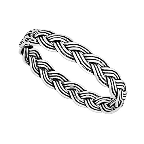 925 Solid Sterling Silver Woven Plait Ring In Sizes G-Z (S)