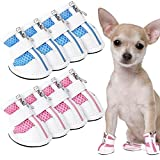 Sadnyy 8 Pieces Mesh Dog Shoes Pet Boots Breathable Dog Shoes for Small Doggy Adjustable Non-Slip Zipper Summer Pet Shoes Pet Paw Protector for Hot Pavement (Medium, Blue, Pink)