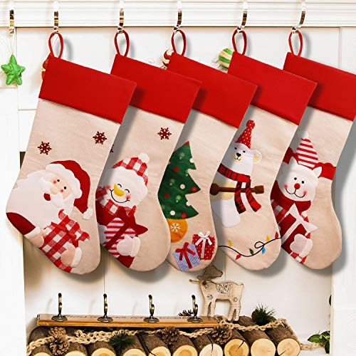 Supsiah 5 Pack Personalized Christmas Stockings 2020 Upgrading Large Size Hanging Ornament Gifts & Decorations for Family Holiday Xmas Party Burlap 18.5 Inch