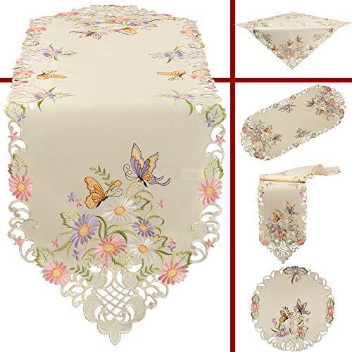 Quinnyshop - Runner centrotavola ricamato con fiori e farfalla, in poliestere, colore ecru/crema