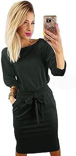 Women's Elegant Long Sleeve Lantern Sleeve Wear to Work Casual Pencil Dress with Belt