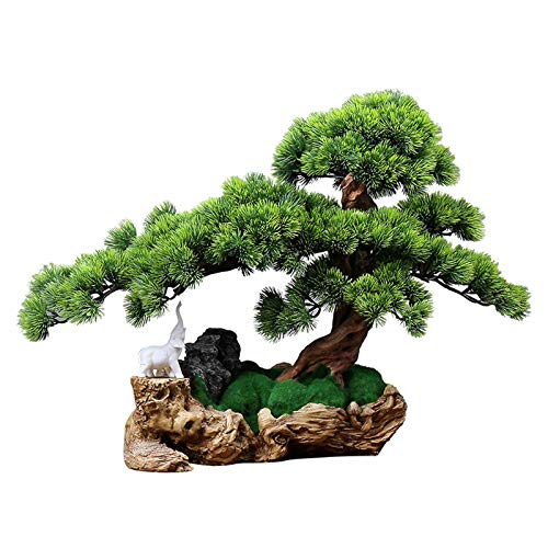 Artificial Bonsai Árbol Gran lucha artificial bonsai de pino, plantas verdes falsas, musgo artificial que cubren las raíces del árbol, estilo chino de la sala de estar de la sala de estar de la sala d