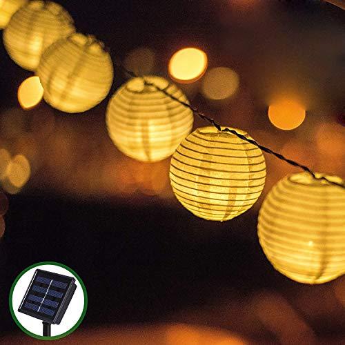 Solar Outdoor Lichterkette Bawoo 30er 6m Led Lampion Laterne Lichterkette Außen Warmweiß Solarbetrieben Wasserdicht Dekoration für Garten...