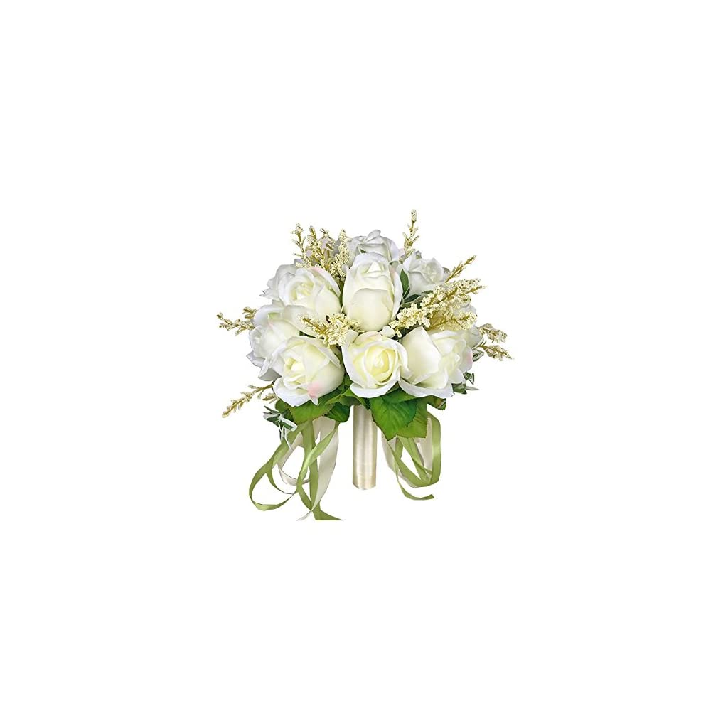 Chinashow Bridal Wedding Bouquet Flower Bouquets Artificial Flowers Wedding Home Decoration, White Rose