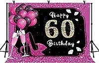 新しい7x5ftハッピー60歳の誕生日の背景キラキラピンクの風船写真の背景ピンクと黒の60歳の誕生日パーティーの背景パーティーバナーの装飾写真ブース小道具210