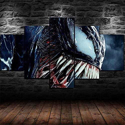 XHYUE Leinwandbilder Bild 5 Teilig Venom Marvel Spiderman auf Leinwand Wandbild Kunstdruck Wanddeko Wand Wohnzimmer Wanddekoration Deko Gemälde Kunst 59.1x31.5 inch(WxH)