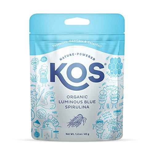 KOS Organic Luminous Blue Spirulina Powder - Natural Food Coloring, Vibrant Blue, Phycocyanin - Plant Based, Non-GMO, Gluten-Free, 1.4oz, 27 Servings