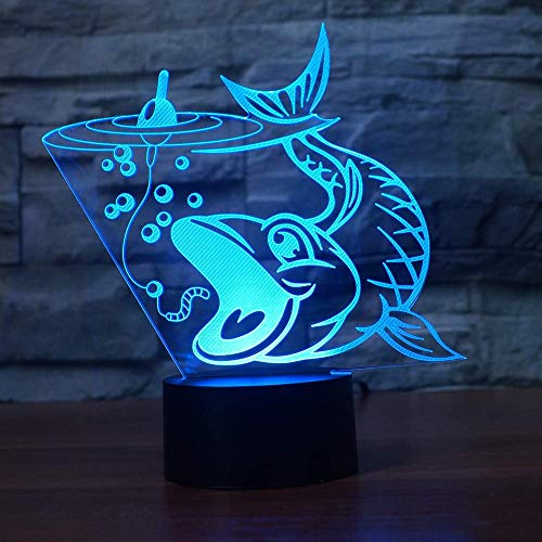 Pesca 3D Pescado LED Luz de noche 3D Touch Baby Sleeping Lighting USB Lámpara de mesa Mesita de noche Luz de noche para regalo infantil