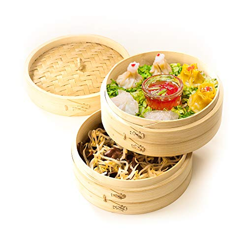 Bamboo Steamer 10 inch - Chinese Steaming Basket for Cooking Dumplings Meat Fish Vegetables Bao Bun and Rice - Dim Sum Steamer - Liners and Chopsticks