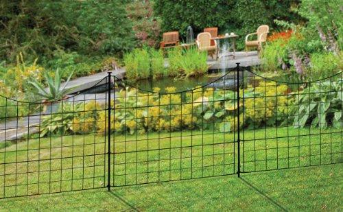 Zippity Outdoor Products WF29001 No Dig Garden Metal Fence, 5 Panels, Black