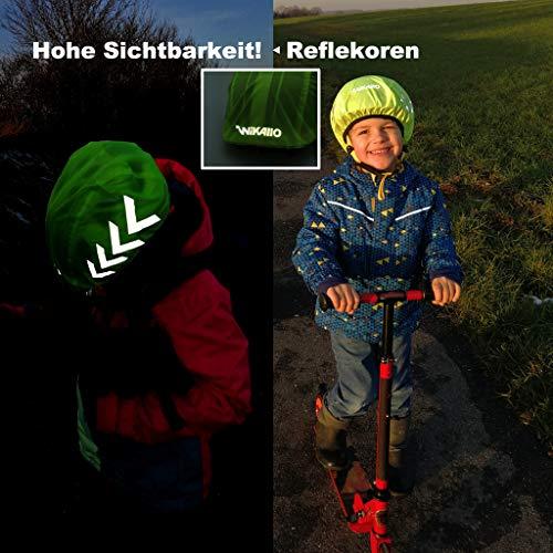 WIKALLO® wasserdichter Regenschutz für den Fahrradhelm Reflektoren Wasserdichte Regenhaube Fahrradhelm Unisex Regenüberzug für den Helm mit Gummizug wasserfester Helmüberzug (Herren, Damen, Kinder) - 3