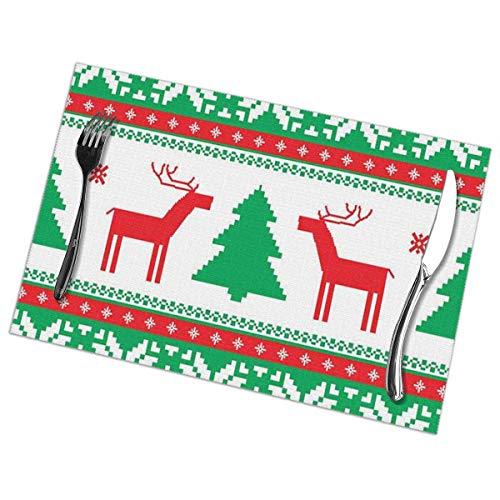 Mantel Individual Manteles individuales Estilo de punto navideño Figura de reno gráfico Estrella Copo de nieve Vacaciones Tema familiar Rojo Verde Blanco Estera de mesa 30X45CM