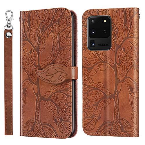 Funda para Galaxy S20 Ultra [función atril] [tarjetero] Funda protectora de piel con tapa para Samsung Galaxy S20 Ultra - DERX010263 marrón