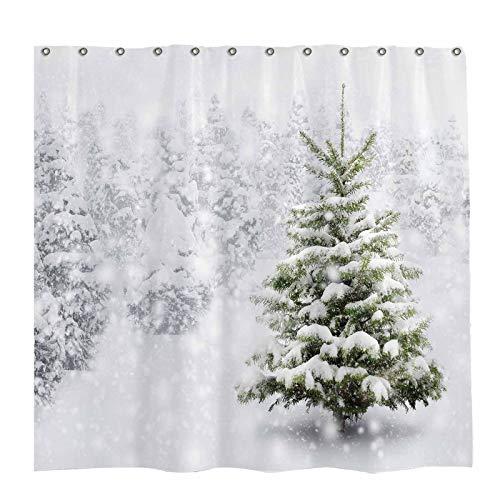 Allenjoy 183 x 183 cm Weihnachts-Duschvorhang-Set mit 12 Haken, natürlicher Winterwald, Schneeflocke, Schneefall, Badezimmer-Vorhang, haltbarer wasserdichter Stoff, Badewannen-Set, Heimdekoration