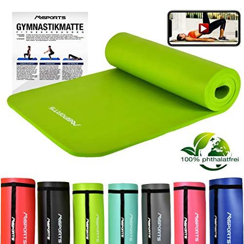 MSPORTS Gymnastikmatte Studio 183 x 61 x 1,0 oder 1,5 cm | inkl. Übungsposter und Tragegurte | Hautfreundliche - Phthalatfreie Fitnessmatte - sehr weich | Yogamatte (Lindengrün, 183 x 61 x 1 cm)