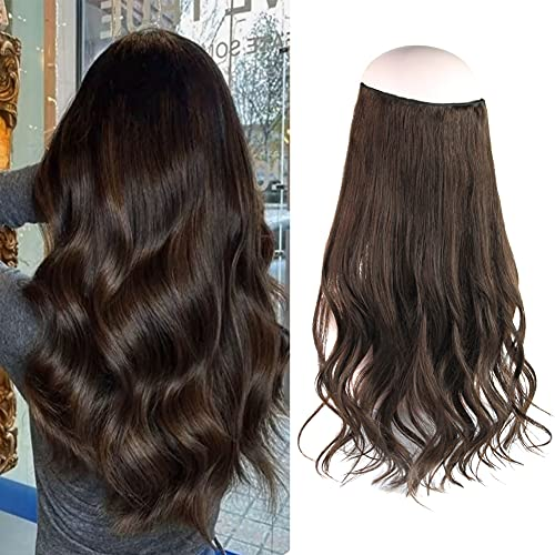 Oreola Halo Hair Extensions, 20 Inch 120g Chocolate Brown Hidden Halo Crown Hair Extensions Invisible Wire Fish Line Hair Extensions with Elastic Clear Headband ,#3