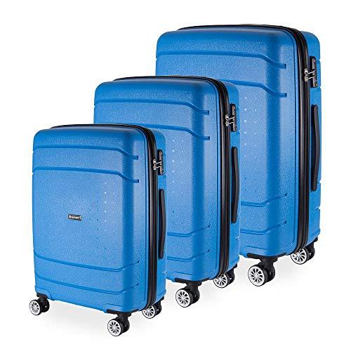 Conjunto Malas De Viagem Londres Em Polipropileno Gosuper Rodinhas Duplas Giro 360 3 Peças Azul