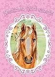bentino Geburtstagskarte XL mit Kunstfell zum STREICHELN, DIN A4 Set mit Umschlag, bei jedem Streicheln hörst Du ein Pferdegeräusch, Glückwunschkarte mit Sound, Schönes Geschenk für Mädchen