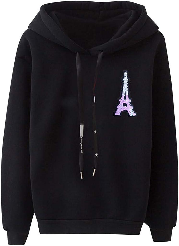 Girls' Hoodie, Misaky Pullover Sweatshirt Jumper Casual Loose Tower Print Long Sleeve Hooded Blouse Tops