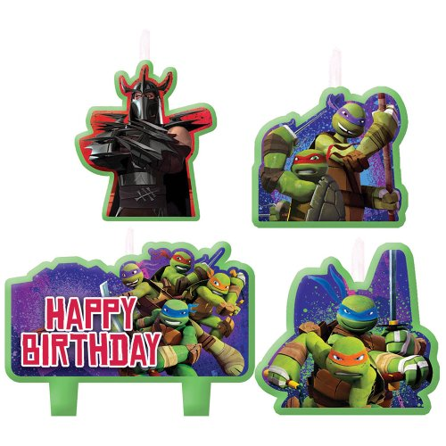 Teenage Mutant Ninja Turtles Birthday Candles - Birthday and Theme Party Supplies - 4 Per Pack