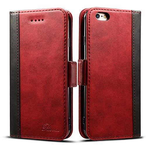 iphone6s ケース 手帳型 iphone6ケース 手帳 Rssviss 高級PUレザー 財布型 アイフォン6sケース カバー カード収納 マグネット スタンド機能 W3 レッド iPhone6 6s対応 4.7inch