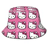 Hello Kitty Pattern Bucket Sun Hat para Hombres Mujeres -Protection Packable Summer Fisherman Cap for Fishing, Safari, Beach Boating Black