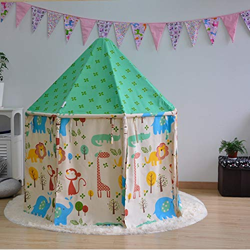Find Bargain Kibten Cartoon Green Girls Princess Castle Tent Portable Cotton Canvas Round Yurt Teepe...