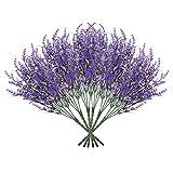 Aonewoe Lot de 6 fleurs artificielles de lavande pour décoration en plein air Résistant aux UV Faux plastique Plantes pour maison, jardin, porche, fenêtre de mariage (violet)