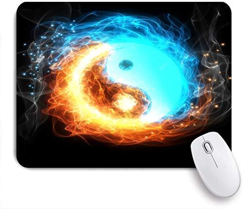 SUHOM Gaming Mouse Pad Rutschfeste Gummibasis,Yin-Yang-Symbol, Eis und Feuer,für Computer Laptop Office Desk,240 x 200mm