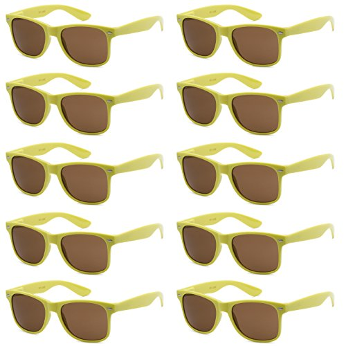 WHOLESALE UNISEX 80'S RETRO STYLE BULK LOT PROMOTIONAL SUNGLASSES - 10 PACK (Chartreuse Lime / Brown, 52 mm)