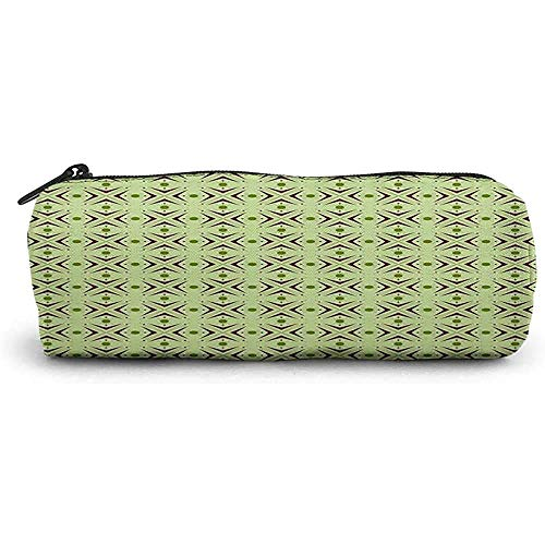 RGFDFi Organizer Pencil Case, Mitte des Jahrhunderts, Atomform mit Bumerang-Details, Punkten und gekreuzten Linien, grüne Pflaume