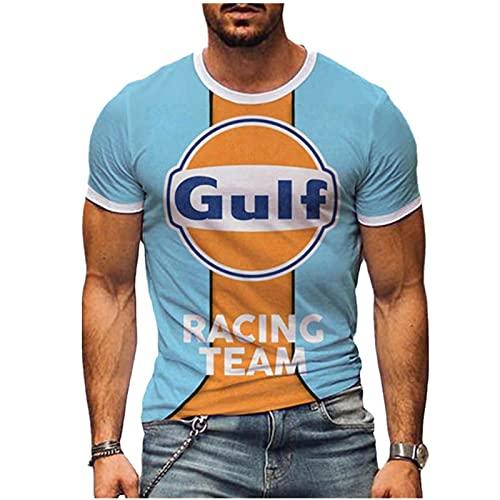 Camiseta Gulf Motor Oil para Hombre Camisetas Retro de Manga Corta con...