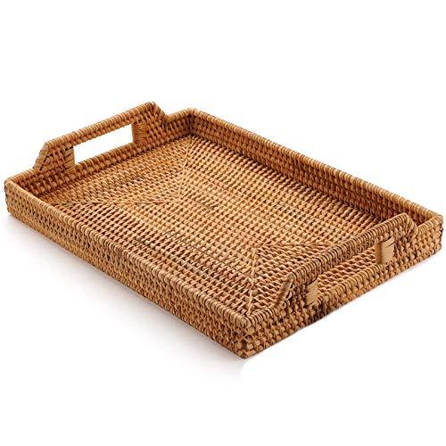 Gesh Cesta de mimbre tejida para guardar frutas, dulces, aperitivos, platos para cubiertos con bandeja para desayuno, cama, bar, cena, rectangular