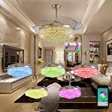 Dimmable Crystal Chandelier Ceiling Fans with Light Smart Bluetooth Music Player Bjclight Classic 42Invisible Retractable Blade Ceiling Fan with Led Light And Remote Control