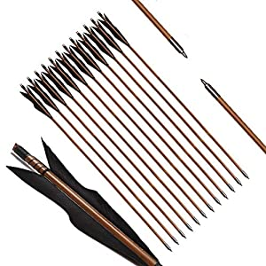 PG1ARCHERY Archery Bamboo Arrows, 32 inch Traditional Hunting Practice Target Arrow 5″ Turkey Feathers Fletching Recurve Bow Longbow(Pack of 12)