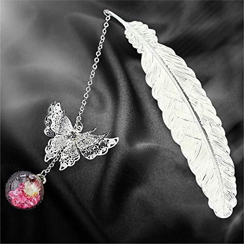 Metal Feather Bookmark Boxed Gifts for Women, Creative Bookmark with 3D Butterfly Glass Beads Eternal Dry Flower Pendant, Small Birthday Christmas Gifts for Reader Teacher Writer