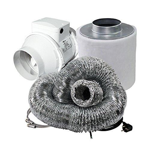 Cultivalley 2 Stufen Klima-Set Standard - 145/167m³ Rohrlüfter & 160m³ Aktivkohle-Filter 100mm Ø - Abluftset für Growzelt Homebox Darkroom Hydroshoot Grow-Room