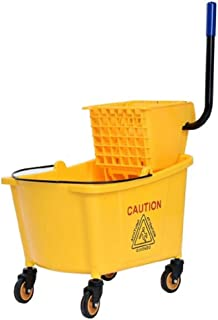 Toolsempire Commercial Mop Bucket Side Press Cleaning Wringer Trolley 35 Quart