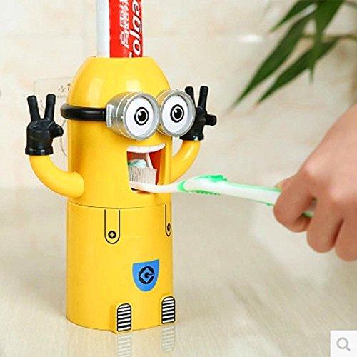 St@llion Automatischer Minions Zahnpasta-Spender und Zahnbürstenhalter Set Zahnpasta-Presse