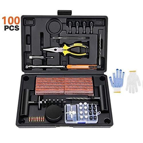 Cozywind 100pcs Kit de Reparación de Neumáticos Kit de Herramientas para Reparar para Coche,camión,Jeep, Todoterreno, Moto, Ttractor, Remolque.
