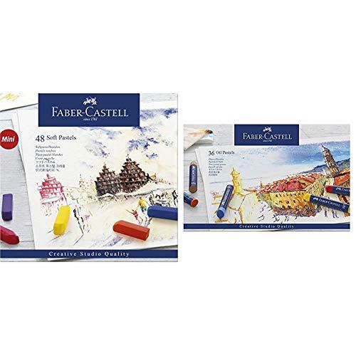 Faber-Castell 128248 - Estuche de cartón con 48 tizas pastel, mini, multicolor + 127036 - Estuche de cartón con 36 pasteles de aceite, multicolor