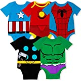 Marvel 5-Pack Avengers Baby Boy Onesies with Iron Man, Captain America, Spiderman, Hulk, & Thor