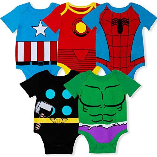 Marvel 5-Pack Avengers Baby Boy Onesies with Iron Man, Captain America, Spiderman, Hulk, Thor