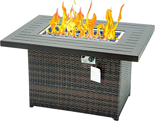 propane fire pit 44 Inch 55,000 brown fire pit table fire pit propane for Outside Patio propane fire pit table fire pit tables with 3mm Aluminum cover CSA Certification (Brown Without Wind glass)