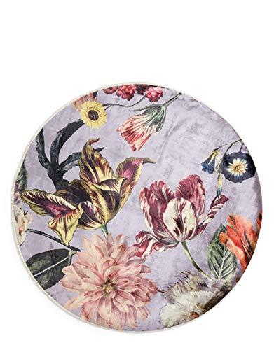ESSENZA Teppich Filou Finest Blumen Pfingstrosen Tulpen Polyester Mischung Violett, Rund ø90 cm