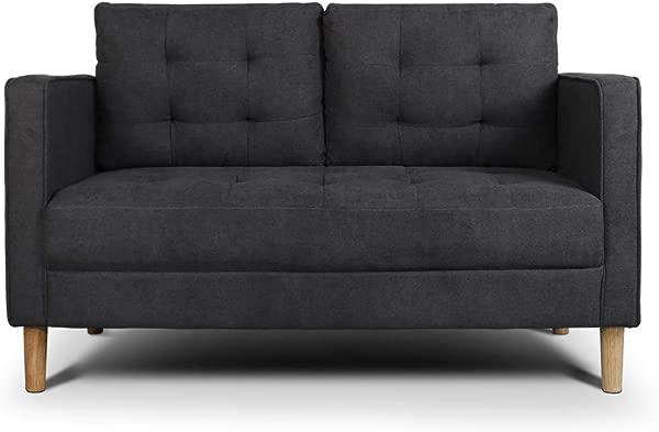 AODAILIHB Modern Soft Cloth Tufted Cushion Loveseat Sofa Small Space Configurable Couch Dark Grey