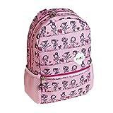 Mochila infantil bailarinas Busquets color rosa con diseño de bailarinas en cenefacon bolsillos laterales y correas regulables